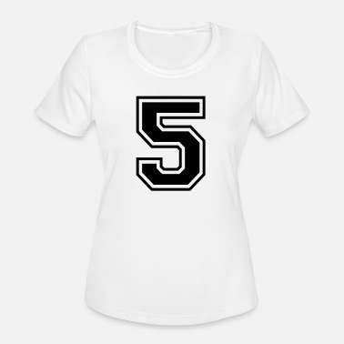 Font Football Number 5 five College Style Font - Women's Moisture Wicking Performance T-Shirt