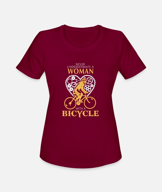 Wheel T-Shirts - Bicycle - A woman with a bicycle awesome t-shirt - Women's Sport T-Shirt burgundy