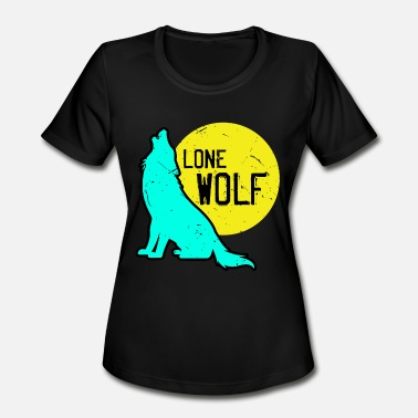 Teets Wolf animal pack dog chasing lonely full moon teet - Women's Moisture Wicking Performance T-Shirt