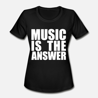 Music Is The Answer Printed Black New Mens Womens - Women's Moisture Wicking Performance T-Shirt