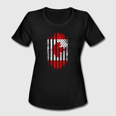 American And Canada Flag Canadian American Flag Canada and USA Design - Women's Moisture Wicking Performance T-Shirt