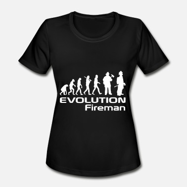 Skull Fireman Evolution Of A Fireman Gift Firefighter - Women's Moisture Wicking Performance T-Shirt