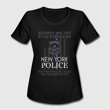 New York Police Support With New York Police Badge Police T - Women's Moisture Wicking Performance T-Shirt