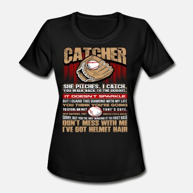 Batting Helmet Catch Catcher - Softball - Women's Moisture Wicking Performance T-Shirt