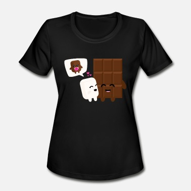 Happy Marshmallow Marshmallow-Choco-Love - Women's Moisture Wicking Performance T-Shirt