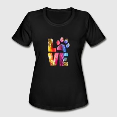 Cat Owner Dog Lover Gift Paw Watercolor Art - Women's Moisture Wicking Performance T-Shirt