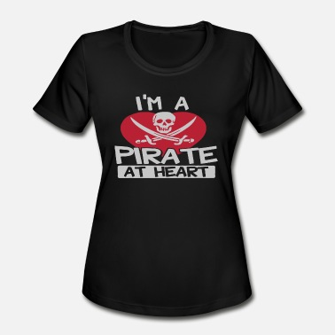 Heart Pirates A Pirate At Heart Logo Funny - Women's Moisture Wicking Performance T-Shirt