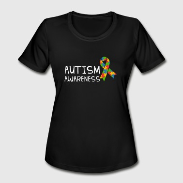 Autism Team Autism Awareness Day Shirt Autism Ribbon Tee Gift - Women's Moisture Wicking Performance T-Shirt