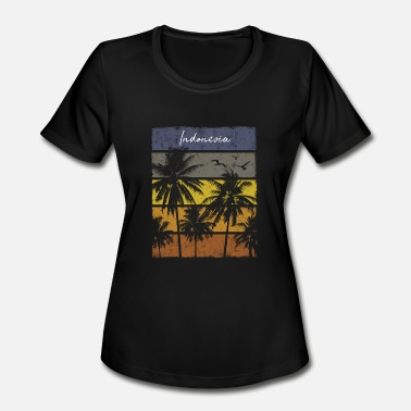 Indonesia Kids Retro Indonesia Beach Print Vacation Souvenir - Women's Moisture Wicking Performance T-Shirt