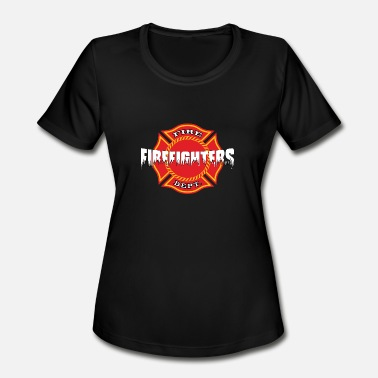 Breasts Dirty Firefighter breast cancer awareness - Women's Moisture Wicking Performance T-Shirt