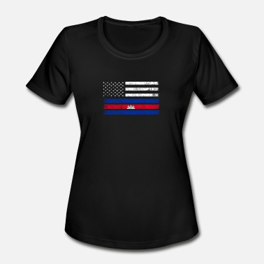 Cambodia Cambodian Flag Cambodian American Flag - USA Cambodia Shirt - Women's Moisture Wicking Performance T-Shirt