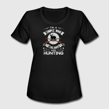 Boobs Mountain I'm a simple man I like boobs and Hunting - Women's Moisture Wicking Performance T-Shirt