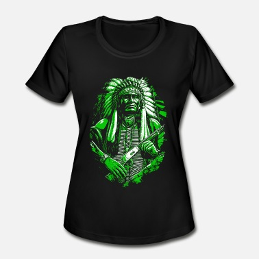 Apache Indian American Native American Skull Gift - Women's Moisture Wicking Performance T-Shirt