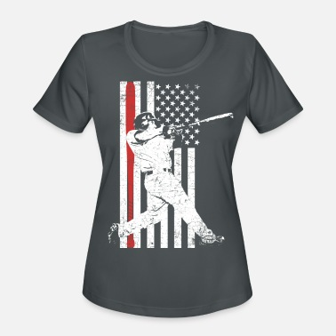 Swing Baseball Batter perfect home run with USA flag - Women's Sport T-Shirt