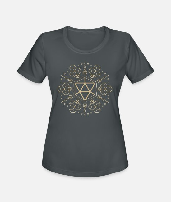 Board Game T-Shirts - Geometric Polyhedral D20 Dice - Women's Sport T-Shirt charcoal