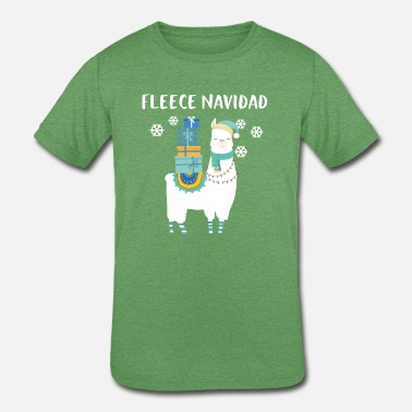 Fleece Navidad Lllama Alpaca Pajama - Kids' Tri-Blend T-Shirt