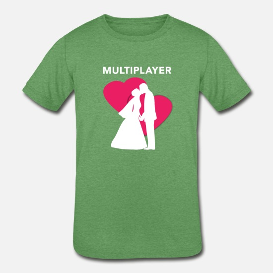 Love T-Shirts - Multiplayer Funny Gamer Marriage - Kids' Tri-Blend T-Shirt heather green