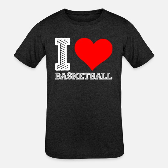 Ball T-Shirts - I love Basketball - Kids' Tri-Blend T-Shirt heather black