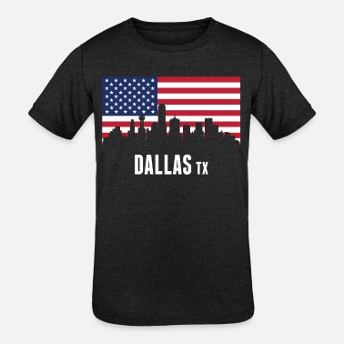 American Flag Dallas Skyline - Kids' Tri-Blend T-Shirt