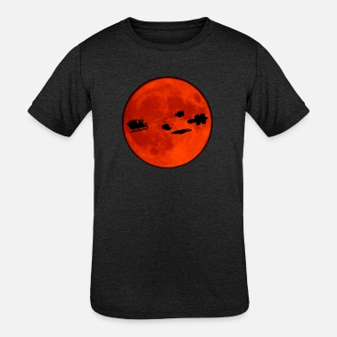 Christmas sled in front of the moon - Kids' Tri-Blend T-Shirt