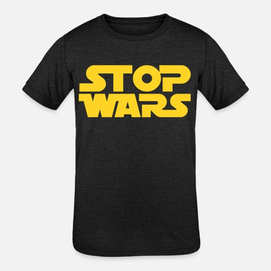Stop T-Shirts - STOP WARS - Kids' Tri-Blend T-Shirt heather black