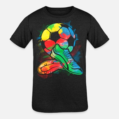 Soccer Soccer ball cleats watercolor Shirt - player shirt - Kids' Tri-Blend T-Shirt