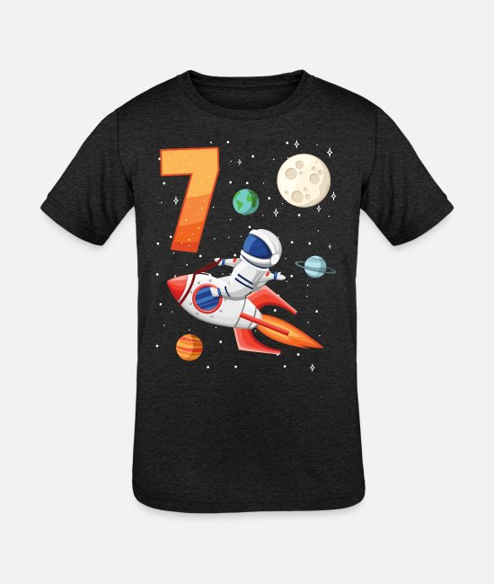 Young T-Shirts - Astronaut 7th birthday space for boys - Kids' Tri-Blend T-Shirt heather black
