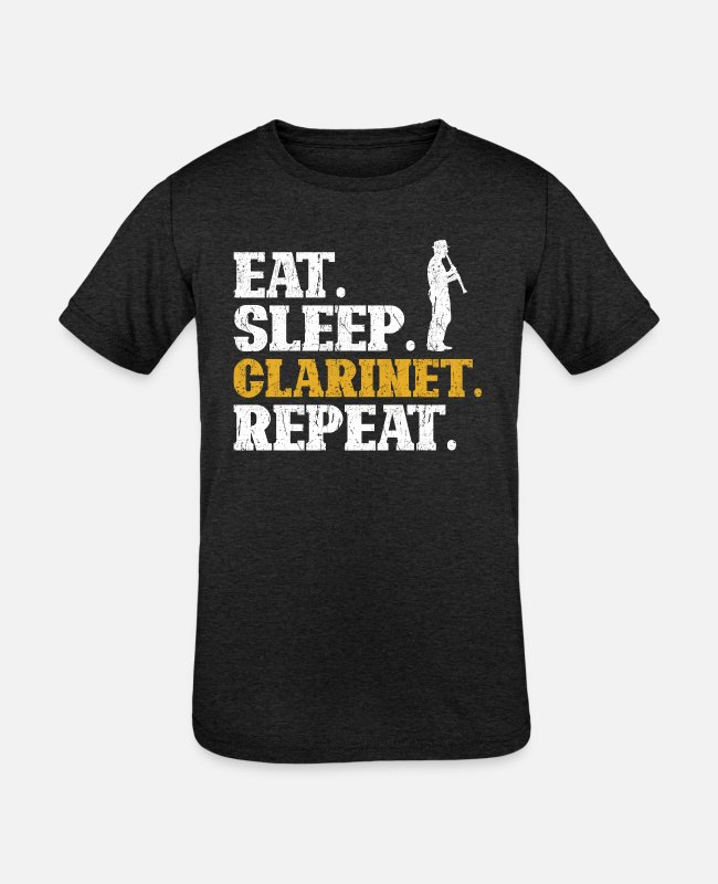 Eat Sleep Repeat T-Shirts - Clarinet Eat Sleep Repeat - Kids' Tri-Blend T-Shirt heather black
