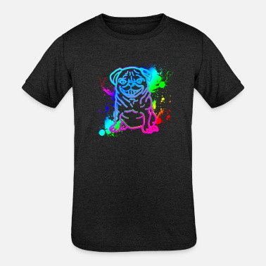 my Pug dog animal owner team best friend colorful - Kids' Tri-Blend T-Shirt