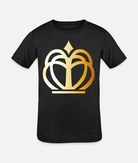 Rap T-Shirts - King prince gold VIP crown fun lable vector image - Kids' Tri-Blend T-Shirt heather black