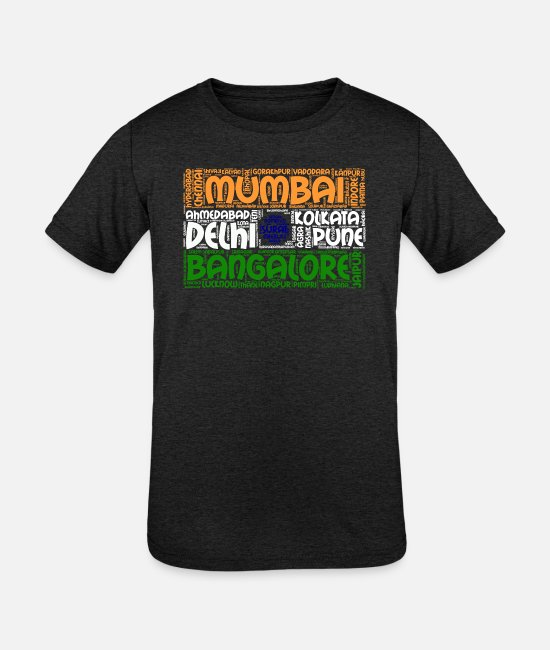 Indian Name T-Shirts - India Flag with City Names Word Art - Kids' Tri-Blend T-Shirt heather black