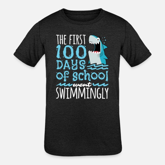 School T-Shirts - 100 Days Of School Shark - Kids' Tri-Blend T-Shirt heather black