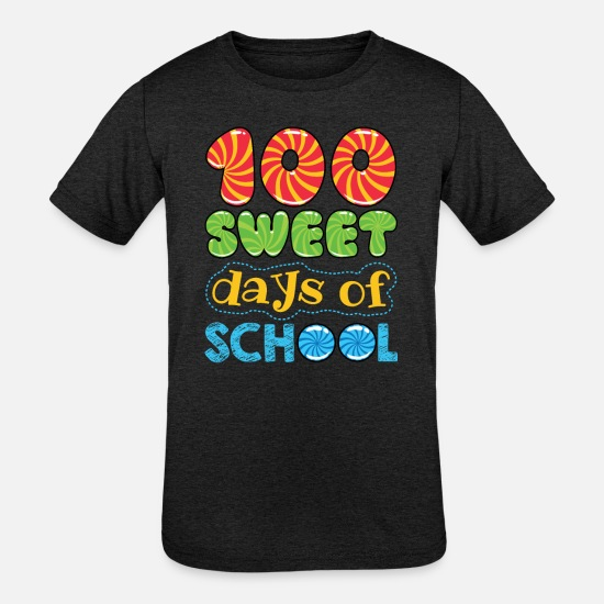 School T-Shirts - 100 Sweet Days Of School - Kids' Tri-Blend T-Shirt heather black