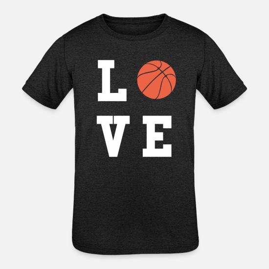 Love T-Shirts - Basketball Love - Kids' Tri-Blend T-Shirt heather black