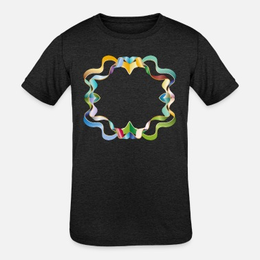 Brilliant empty frame made of colorful shimmering ribbons - Kids' Tri-Blend T-Shirt