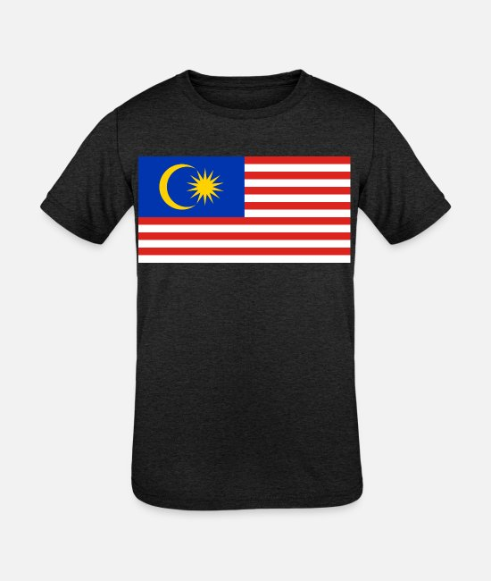 National T-Shirts - Malaysia country flag love my land patriot - Kids' Tri-Blend T-Shirt heather black