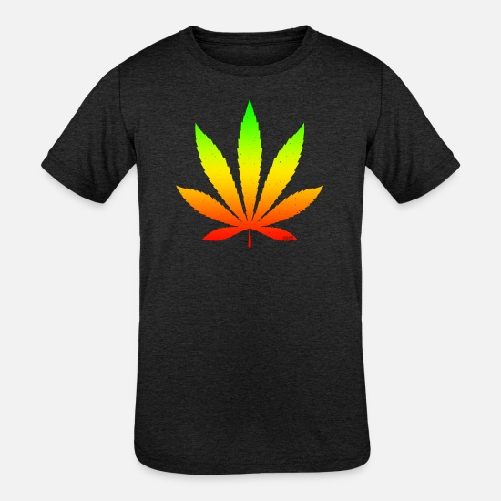 Ganja T-Shirts - GANJA LEAF - Kids' Tri-Blend T-Shirt heather black