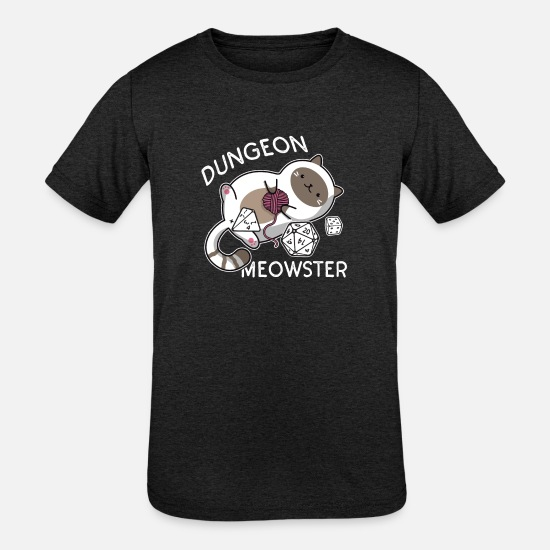 Cat T-Shirts - Dungeon Meowster Funny Gamer Cat D20 - Kids' Tri-Blend T-Shirt heather black