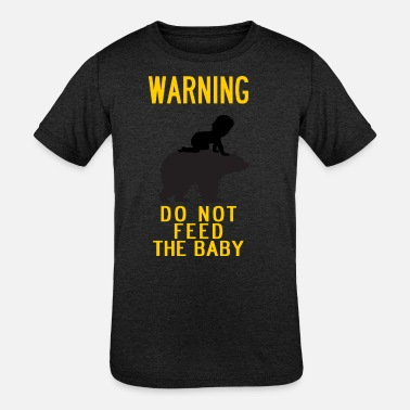 Warn Baby warning do not feed the bear and baby YELLOW - Kids' Tri-Blend T-Shirt