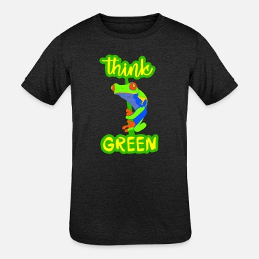 Red-eyed Tree frog. Think green. Eco quote. Earth. - Kids' Tri-Blend T-Shirt