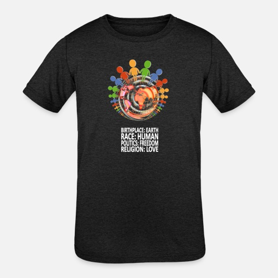 Birthplace T-Shirts - Against Racism T-Shirt - Kids' Tri-Blend T-Shirt heather black