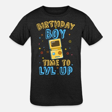 Kids 10-11 BIRTHDAY BOY TIME TO LVL UP - Kids' Tri-Blend T-Shirt