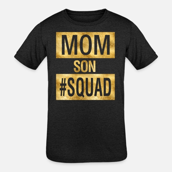 Father's Day T-Shirts - Mom Son Squad - Kids' Tri-Blend T-Shirt heather black