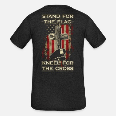 Line Stand for the flag. Kneel for the cross. - Kids' Tri-Blend T-Shirt