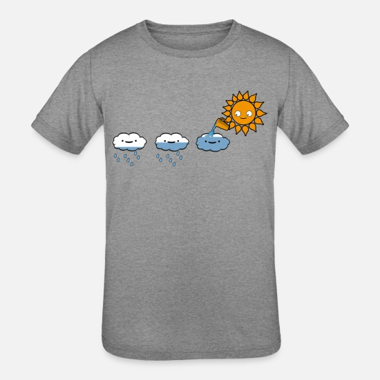 Rain T-Shirts - Rain cloud and sun - Kids' Tri-Blend T-Shirt heather gray