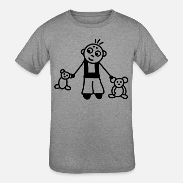 Stuffed Animal Boy with stuffed animals - Kids' Tri-Blend T-Shirt
