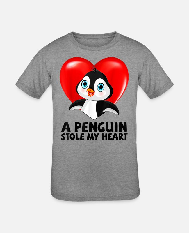 Heart T-Shirts - A Penguin Stole My Heart Valentine's Day Gift Woma - Kids' Tri-Blend T-Shirt heather gray