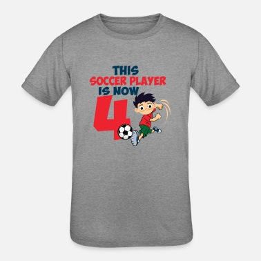Four-year-old Funny Kids 4th Birthday Soccer Four Years old Boy Gift - Kids' Tri-Blend T-Shirt