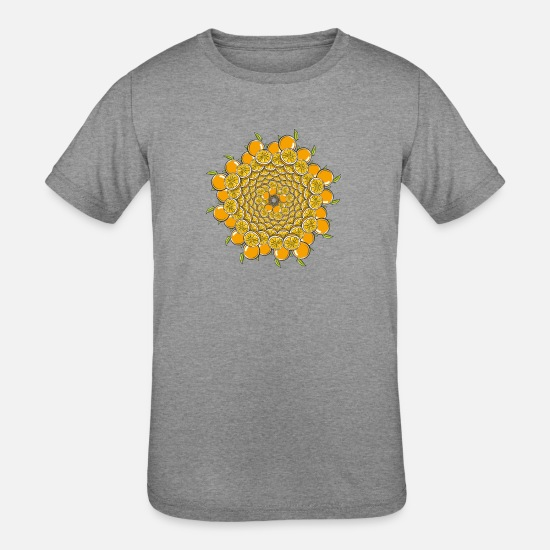 Sanskrit T-Shirts - orange mandala - Kids' Tri-Blend T-Shirt heather gray