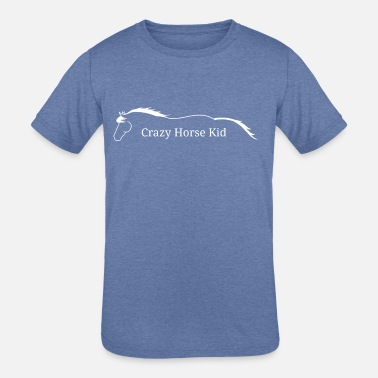 Crazy Logo Crazy horse kid, white logo - Kids' Tri-Blend T-Shirt